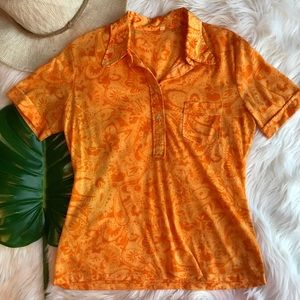 1970s Vintage Floral Groovy Collared Short Sleeve